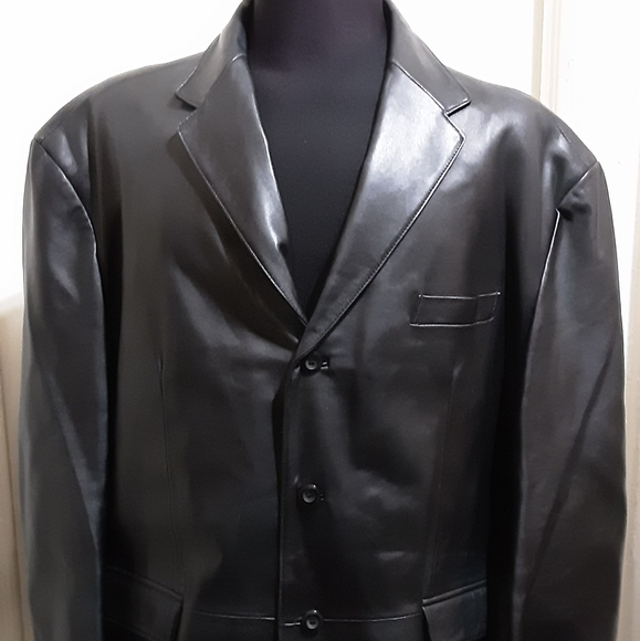 Stafford Mens Black Soft Leather 3 Button Blazer